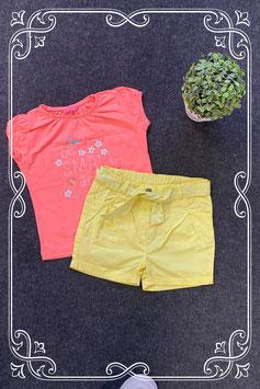 Leuk geel broekje van C&A en roze shirt van Hema maat 86
