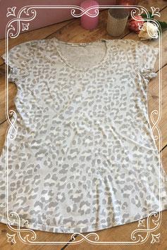 Lichtgrijs luipaarden T-shirt van Typical Jill - Maat M