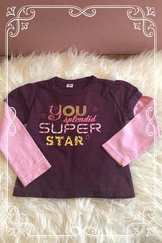Paars met roze lange mouwen shirt met print - Maat 92