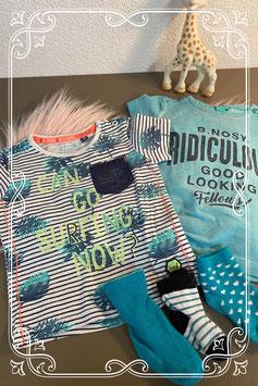 2 zomerse shirts van Little Quapi en B-Nosy maat 74 en bijpassende sokjes