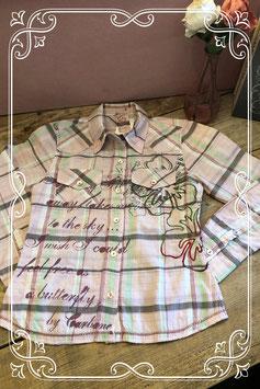 Roze geruite blouse van carbone-maat 140