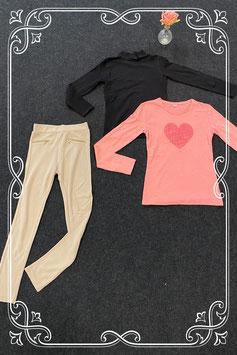 Goudkleurige legging van H&M maat 146 met 2 leuke longsleeves maat 146/152