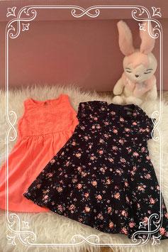 Set van twee jurkjes in het roze en zwart van de Primark  - maat 80