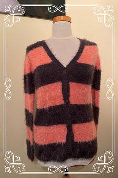 Fluffy vest in roze en grijs maat S