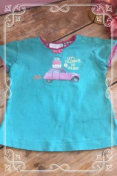Turquoise korte mouwenshirt van Feetje - Maat 80