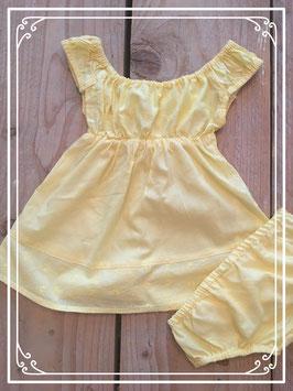 Lief geel jurkje met onderbroekje - Maat 68