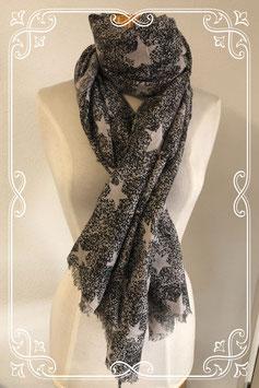 Grote sjaal in zwart met grijze sterren