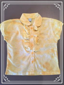 Geel gevlekt bloesje met roezeltje - maat 98
