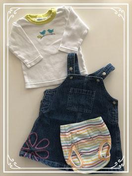 Spijkerjurk met wit shirt en luieronderbroek - Maat 62