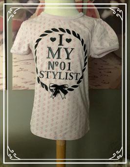 Lichtroze t-shirt met zwarte tekst van Funky Xs - Maat 110-116