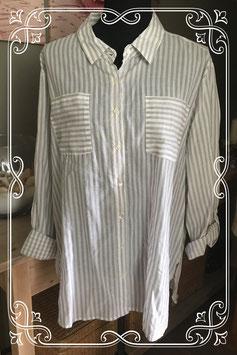Lange witte blouse met grijze streep van Atmosphere - Maat 48