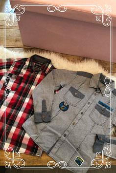 Tweedelige set geruite blouses - Maat 146-152