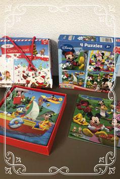 Kerst Circus puzzel en 4 puzzels van Mickey Mouse - vanaf 3 jaar