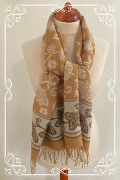 Beige sjaal met mooie witte bloemen - volwassenen