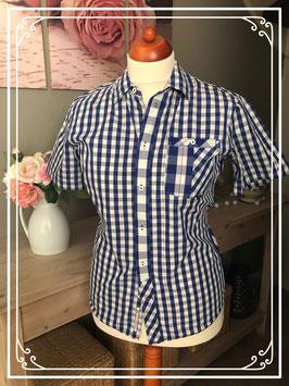 Blauw wit geblokte blouse korte mouw van het Merk - OneiLL Maat - L