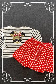 Leuk hartjesrokje van Hema en Disney shirt van H&M maat 134/140