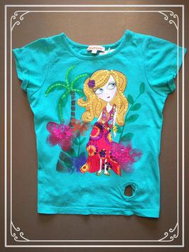 Zeegroen shirtje met meisje in zomerjurk - maat 104-110