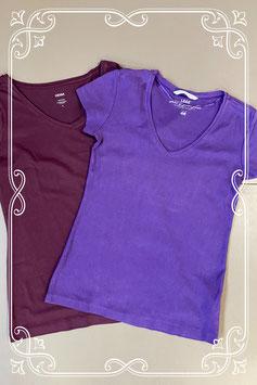 2 shirts in 2 paars tinten van H&M en Hema maat S