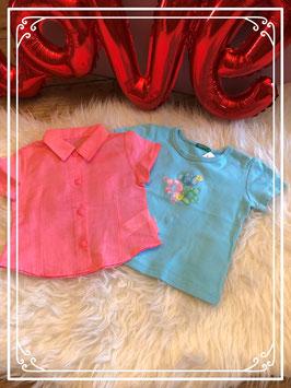 Tweedelig setje van blauwe T-shirt - BENETTON en roze zijdeachtige blouse -maat 86