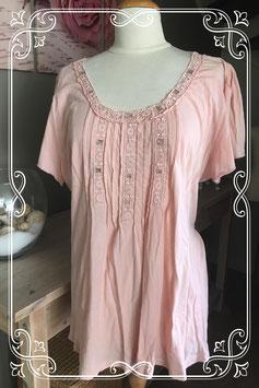 Lichtroze korte mouwen shirt van Mia Linea - Maat 50