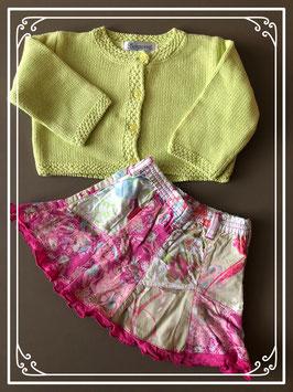 Groen gebreid vestje met vrolijke bloemen rok - Maat 68