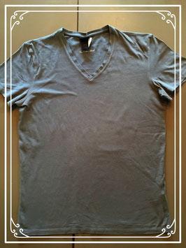 Kaki-kleurig T-shirt met V-hals - maat M