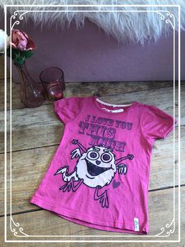 Roze T-shirt met monstertje van CARS - Maat 116