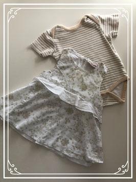 Wit jurkje met bruine bloemetjes van BAKKABOE - Maat 62