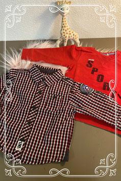 Stoere rode trui van Prenatal en geblokte blouse van Noppies maat 68