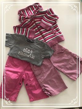 Roze/grijze kleding set - Maat 74
