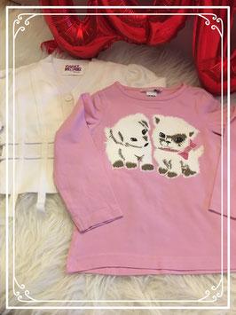 2-delig roze met wit setje merk H&M - maat 86/92