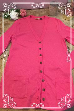 Nieuw: Roze geribbeld vest van Jolinesse - Maat S