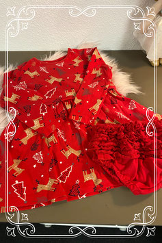 Schattig rood kerstjurkje maat 92/98 met bijpassend broekje