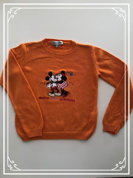 Oranje trui met Mickey en Minnie van Donaldson - Maat 140-146