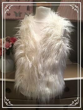 Wit Angora-look vest zonder mouwen van Geisha- maat 164