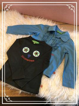 Blauwe blouse met groen shirt van zulupaPUWA - Maat 98