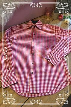 Rood/wit geblokt overhemd van Refined - Maat M