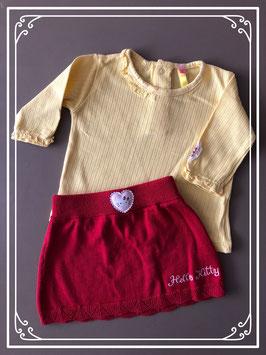 Rode rok met geel lange mouwen shirt - Maat 62