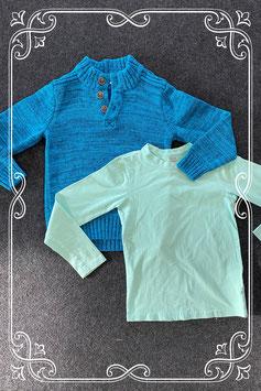 Mintgroene longsleeve van Rolfi for Kids en blauwe warme trui van BPC in maat 116/122