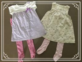 Twee zomerse jurkjes met leggings - Maat 74
