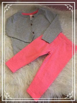 Zilver vestje met roze legging - maat 74-80