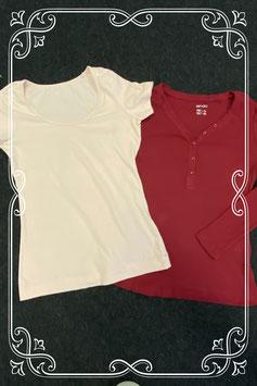 Rode longsleeve en lichtroze shirt van Esmara maat S 36/38