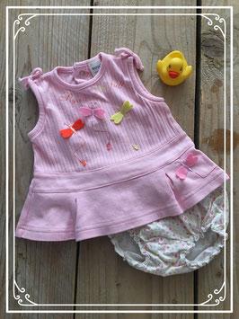Lichtroze jurkje met bloemen luierbroekje - Maat 56