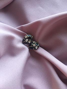 Nieuwe zwarte / gouden oorbellen met glitter steentjes