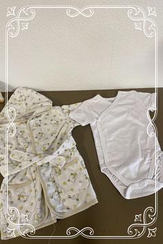 Nette witte romper van Basic for Baby en schattige badjas maat 62/68