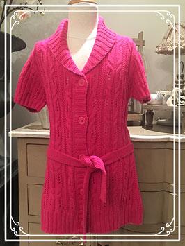 Nieuw: roze gebreid vest met korte mouwen - maat 164
