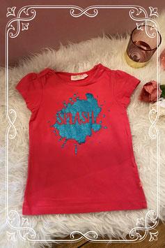 Koraal gekleurd t-shirt met glitter opdruk van someone - maat 116