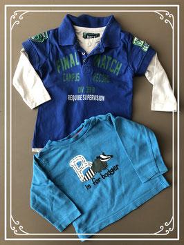 Set van twee lange mouwen shirt blauw - Maat 68