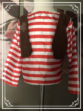Piratenshirtje met bruin jasje - Maat 110-116