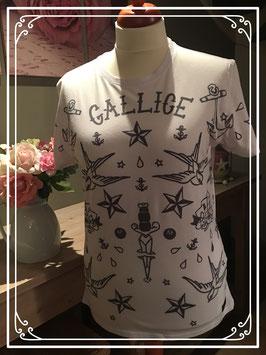 Wit T-shirt met zwarte afbeeldingen van GALLICE - Maat XL